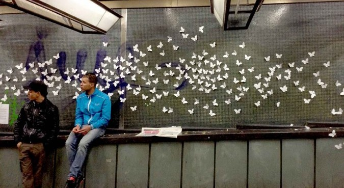 White Butterflies at the central station - Brussels